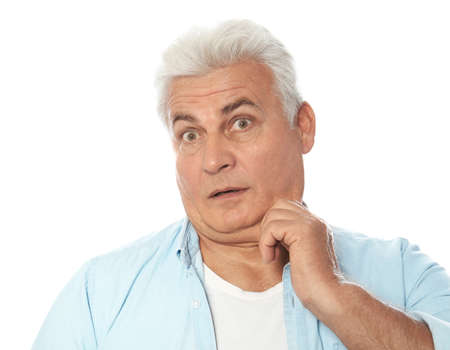 Emotional mature man with double chin on white background