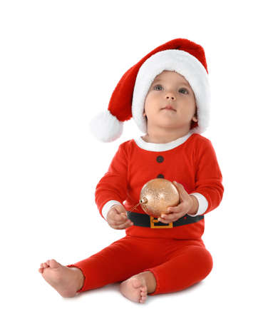 Cute little baby wearing festive Christmas costume on white background