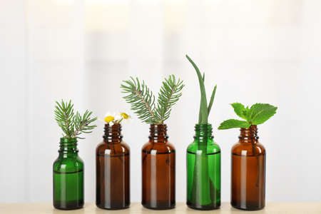Glass bottles of different essential oils with plants on table