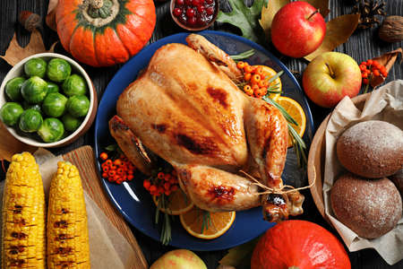 Composition with turkey as background, top view. Happy Thanksgiving day Stock Photo