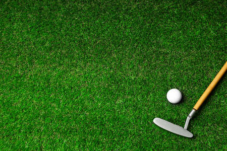 Golf ball and club on green course, flat lay. Space for text 版權商用圖片