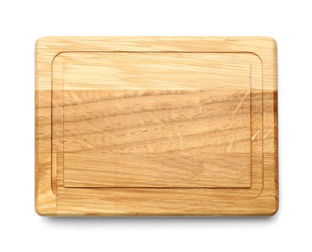 Empty wooden board isolated on white, top view Stock Photo