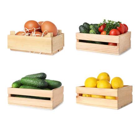 Ensemble de caisses en bois avec différents fruits, légumes et œufs sur fond blanc