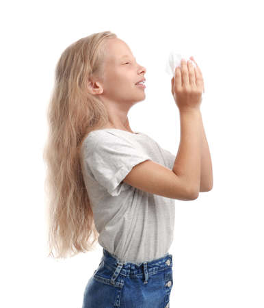 Little girl suffering from allergy on white background