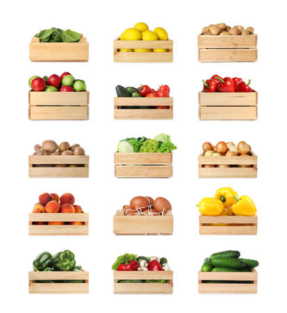 Set of wooden crates with different fruits, vegetables and eggs on white background Stock Photo