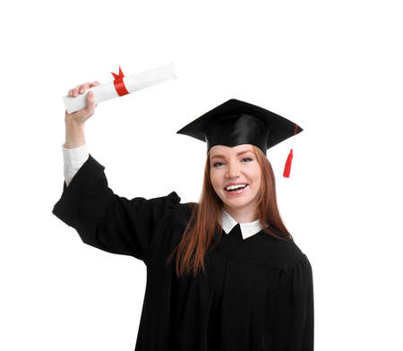 Happy student with graduation hat and diploma on white background 스톡 콘텐츠