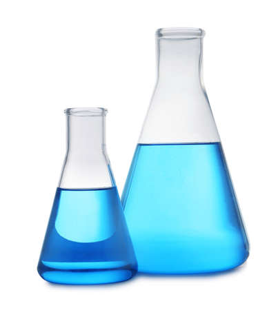 Conical flasks with blue liquid on white background. Laboratory glassware