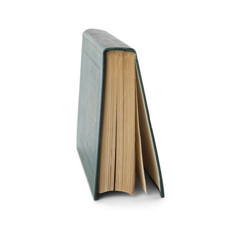 Closed color hardcover book on white background Stock Photo
