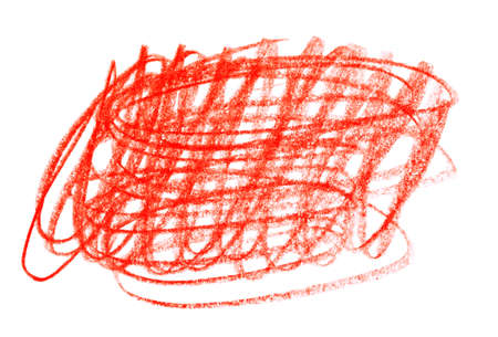 Red pencil scribble on white background, top view