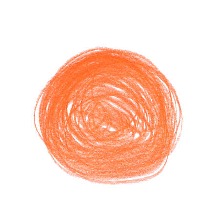 Orange pencil scribble on white background, top view 스톡 콘텐츠