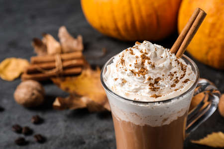 Pumpkin spice latte with whipped cream and cinnamon stick in glass cup on grey table, closeup. Space for text