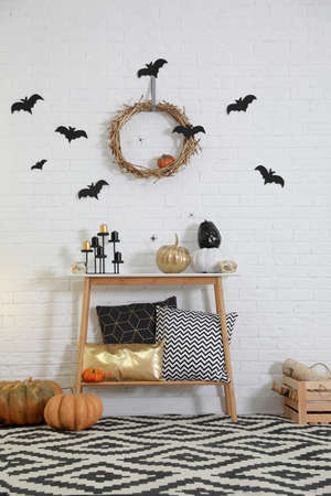 Stylish interior of room decorated for Halloween holiday