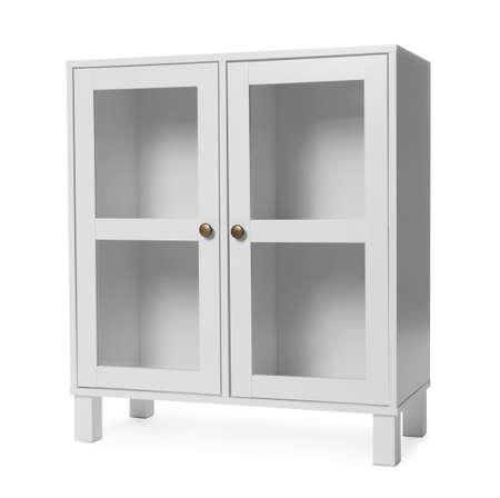 Empty wooden cabinet on white background. Stylish home furniture Archivio Fotografico