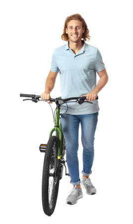 Happy young man with bicycle on white background