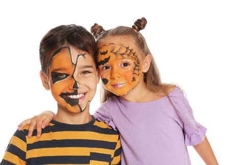Cute little children with face painting on white background Stok Fotoğraf - 131704002