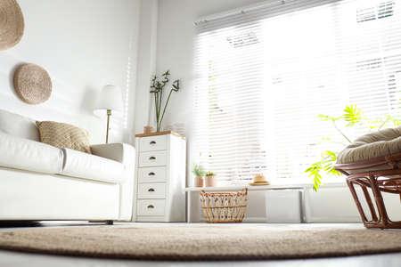 Schöne tropische Pflanzen mit grünen Blättern im stilvollen Wohnzimmerinterieur, niedriger Betrachtungswinkel