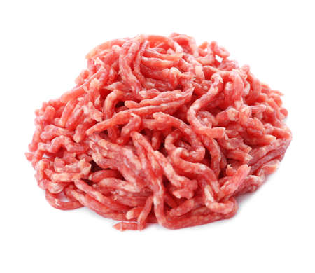 Fresh raw minced meat on white background
