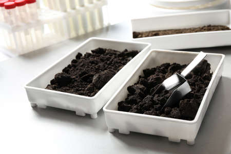 Containers with soil samples on table. Laboratory research