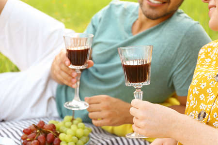 Young couple with glasses of wine having picnic outdoors, closeup Reklamní fotografie