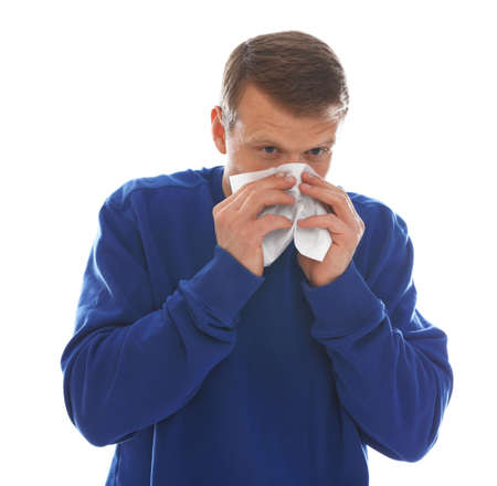 Man suffering from cold on white background 版權商用圖片
