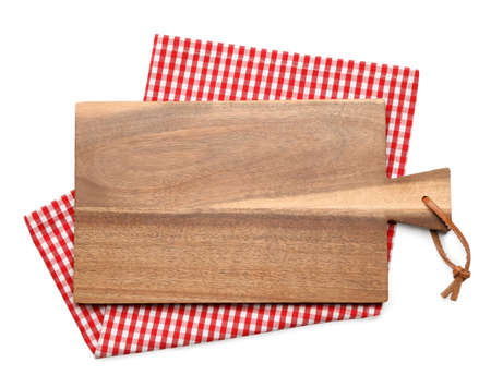 Empty wooden board and checkered napkin isolated on white, top view