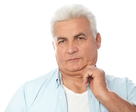 Mature man with double chin on white background