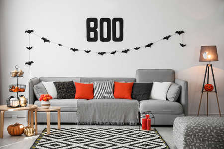Modern room decorated for Halloween. Festive interior