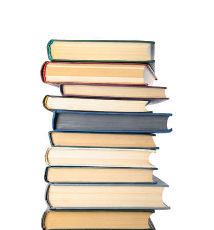Stack of hardcover books on white background Stockfoto