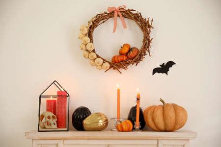 Halloween decor in room. Idea for festive interior