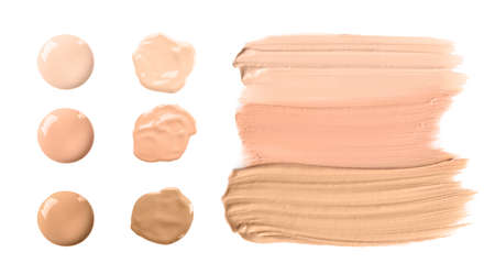 Set of different foundation shades on white background, top view Imagens