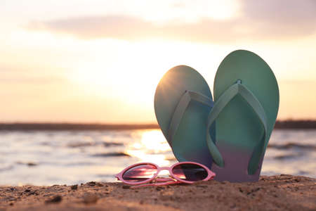 Stylish flip flops with sunglasses on sand near sea, space for text. Beach accessories