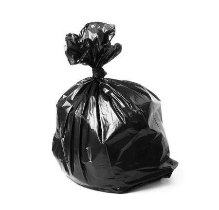 Full black garbage bag on white background
