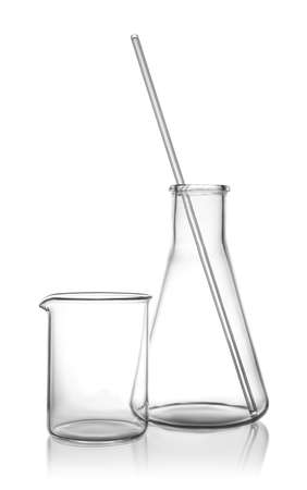 Clean empty laboratory glassware on white background