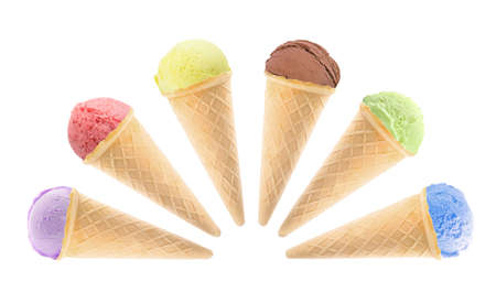 Set of different delicious ice creams on white background