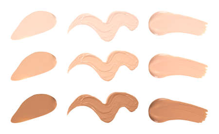 Set of different foundation shades on white background, top view Imagens - 132041797
