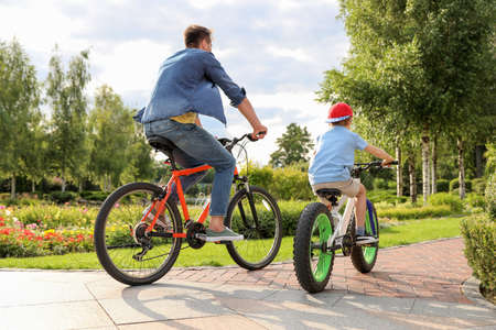 Dad and son riding modern bicycles outdoors