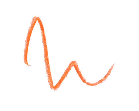 Orange pencil scribble on white background, top view Stok Fotoğraf