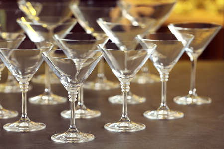 Empty martini glasses on table against blurred background Zdjęcie Seryjne