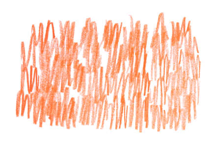 Orange pencil hatching on white background, top view