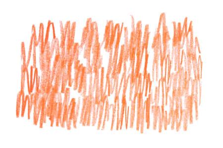 Orange pencil hatching on white background, top view Stok Fotoğraf - 131720381