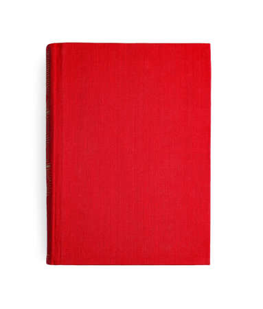 Book with blank red cover on white background, top view