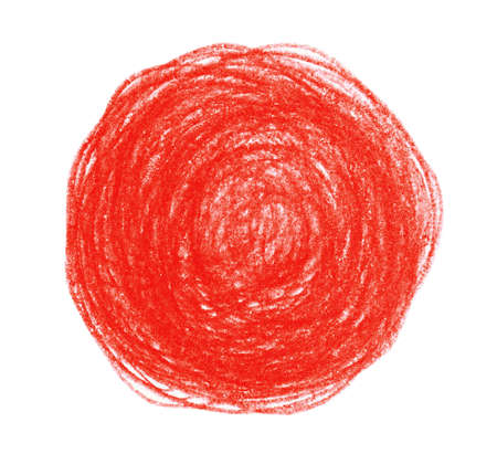 Red pencil scribble on white background, top view Stok Fotoğraf - 131721102