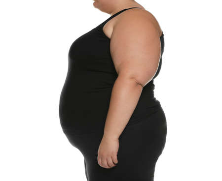 Overweight woman posing on white background, closeup Stock Photo
