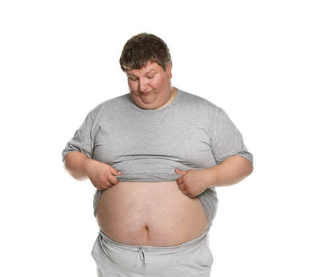 Emotional overweight man posing on white background Archivio Fotografico - 132240886