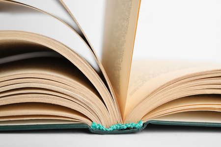 Closeup view of open book on white background