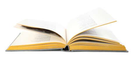 Open grey hardcover book on white background Stok Fotoğraf