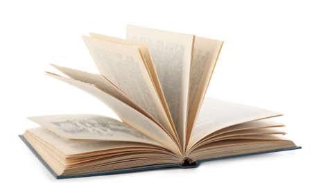 Open hardcover modern book on white background Stok Fotoğraf