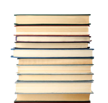 Stack of hardcover books on white background Stok Fotoğraf