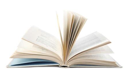 Open light hardcover book on white background