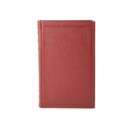 Book with blank red cover on white background Stock Photo